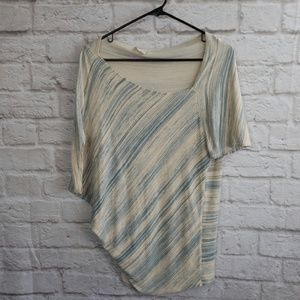 Deletta Anthropologie Ribbed knit teal tan Blouse